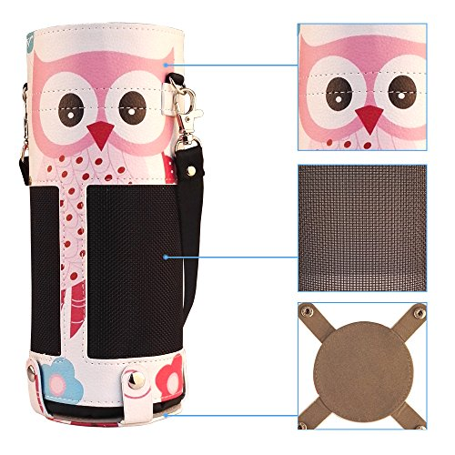 Protective Carrying Case for Amazon Alexa Echo - Premium Faux Leather Artistic Cover Sleeve Skins with Holding Strap Pink Owl Butterfly Design from Zzteck