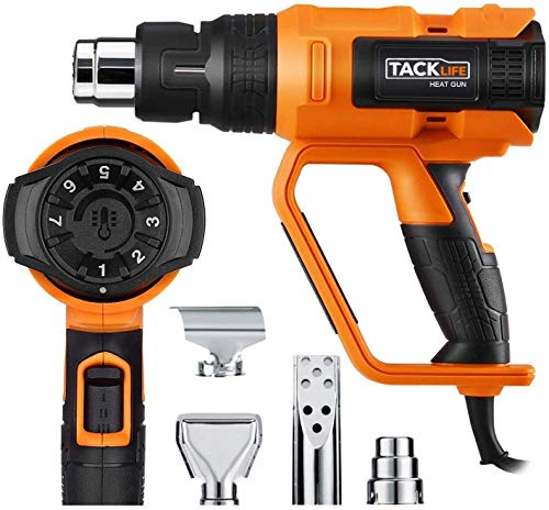 Heat Gun, Tacklife 122℉~1112℉(50℃~600℃) Precision Control Temperature by Adjustment Dial with Three Temp-settings, Four Nozzle Attachments for Removing Paint, Bending Pipes, Shrinking PVC-HGP73AC from TACKLIFE