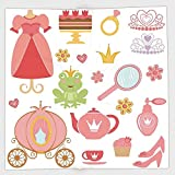 Cotton Microfiber Hand Towel,Kids Decor,Princess Tiara Tea Party Mirror Teapot Tea Party Frog Crown Fairy Cupcake Girls Decorative,for Kids, Teens, and Adults,One Side Printing