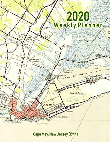 - 2020 Weekly Planner: Cape May, New Jersey (1944): Vintage Topo Map Cover