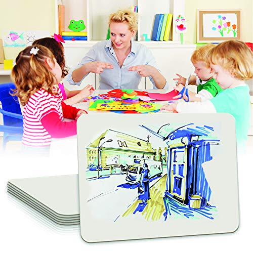 Double-Sided Mini White Boards Pack | Includes 10 Small Multi-Purpose Dry-Erase Lapboards, 10 Portable Felt Erasers, 10 Easy to Erase Black & Red Markers for Kids & Adults Photo #6