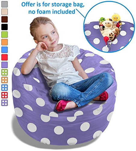 BeanBob Stuffed Animal Storage Bean Bag Chair in Purple w/ Polka Dots - 2.5ft Large Fill & Chill Space Saving Toy Organizer for Children - For Blankets, Teddy Bears, Clothes - Stuffable Animal