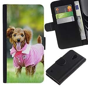 KingStore / Leather Etui en cuir / Samsung Galaxy S4 IV I9500 / Rosa lindo del perro de caniche