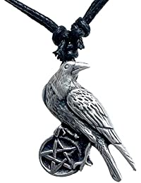 Wiccan Crow Raven Pentagram Pentacle Star Pewter Pendant Necklace