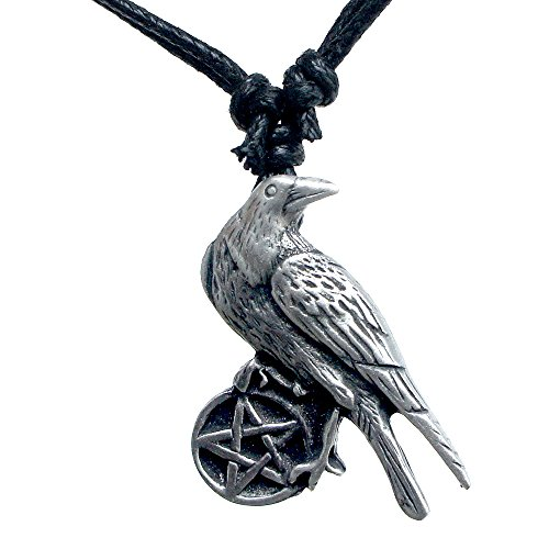 OhDeal4U Wiccan Crow Raven Pentagram Pentacle Star Pewter Pendant Necklace (Black 16-32 inches Adjustable ()