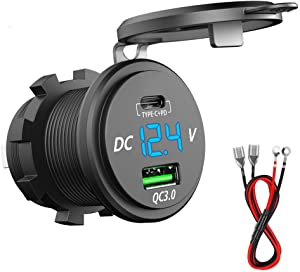 PD Type C USB Car Charger Socket and QC 3.0 Quick Charger 12V/24V Car Power Outlet Waterproof Socket 64W Dual USB Charger Socket Power Delivery 36W for Motorcycle Marine Boat RV ATV (Type C+ QC3.0(G))