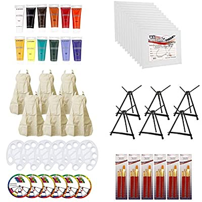 U.S. Art Supply Paint and Wine Art Party Painting Kit - 6 Easels, 12 Paint Tube Set, 12 Canvas Panels, 6 Brush Sets & 6 Aprons