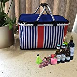 LANOUOGGK-Outdoor-Folding-Waterproof-Picnic Ice Bag-Insulated Picnic Basket - Strong Aluminum Frame (Stripe Color) … …