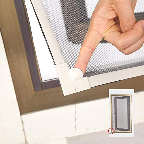 """Adjustable DIY Magnetic Window Screen Max 55""""H x 36""""W Fits Any Size Smaller DIY Easy Installation (White) by NeatiEase (Image #5)"""
