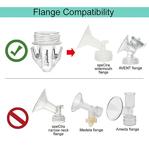 Large Product Image of Maymom Breastmilk Storage Bag Adapters for Spectra S1, S2 Pumps, Avent Comfort Wide Mouth Flange Pump; Clear BPA free Material; Boiling Water Safe; Do Not Use Microwave or Steamer Bag to Sanitize