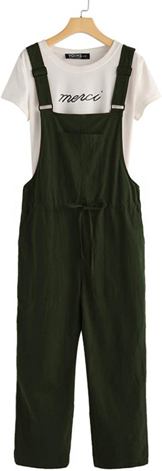 MINTLIMIT Cotton Linen Overall Loose Strap Sleeveless Long Playsuit Jumpsuit Dungarees Wide Leg Baggy Casual Pants