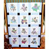 Fairway 92310 Baby Quilt Block, Cross Stitch Boy Bear Design, Twelve Blocks, White
