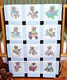 quilt cross stitch kits - Fairway 92310 Baby Quilt Block, Cross Stitch Boy Bear Design, Twelve Blocks, White