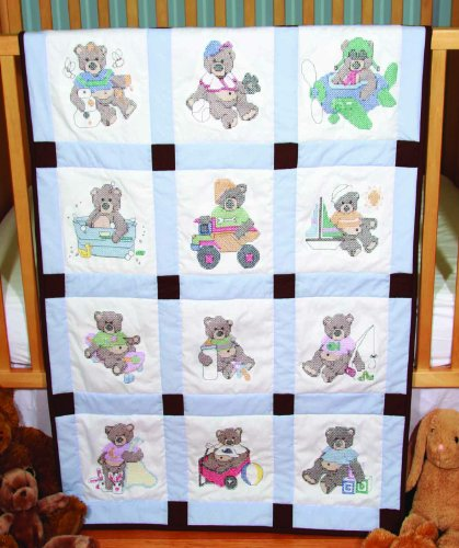 Fairway 92310 Baby Quilt Block, Cross Stitch Boy Bear Design, Twelve Blocks, ()