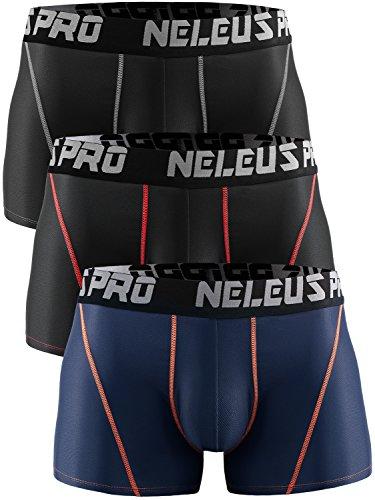 Athletic Sport Underwear - Neleus Men's 3 Pack Brief Mesh Sport Athletic Underwear,6003,Black,Red Stripe,Navy Blue,US M,EU L