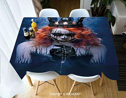 AngelDOU Waterproof Stain Resistant Lightweight Table Cover Queen of Death Scary Body Art Halloween Evil Face Bizarre Make Up Zombie for Camping Picnic Rectangular Table Cloth,W55xL82(inch)