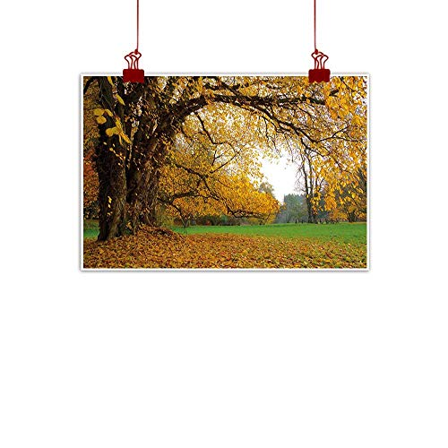 Sunset glow Wall Art Painting Print Fall,Autumnal Park with Big Ancient Oak Tree and Deciduous Leaves Greenery,Earth Yellow Brown Green 20
