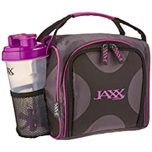 Fit & Fresh Jaxx FitPak Meal Prep Insulated Bag with Leakproof Portion Control Container Set, Reusable Ice Pack, and Shaker Cup, Purple,