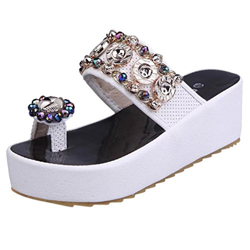 Toe Heels Glitter for Size High 7 White 3 Open with 2 Diamante Platform Pretty 5 Shoes 4 6 Sparkly Wedge Lolittas Ladies Bling Sandals Pearl nYwZ7AY4