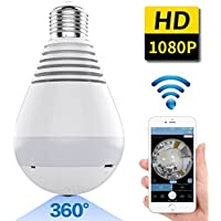 Wifi Bulb Camera Fisheye Lens 360° Wireless Panaromic HD IP Bulb Camera for Remote Home Security System with Living Viewing by Android/iPhone/iPad,White