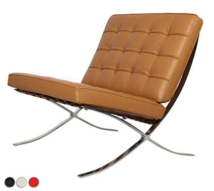 Exceptional EMod   Knoll Barcelona Chair Superior Craftsmanship Premium Aniline Leather  Stainless Steel (LIGHT BROWN)