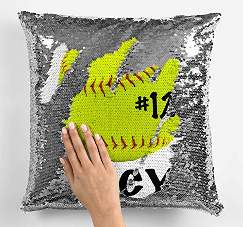Violet Victoria & Fan Star Personalized Softball Fastpitch Sequin Mermaid Flip Pillow - ADD Your Name and/or Number! (Silver Sequins - Pillowcase ()