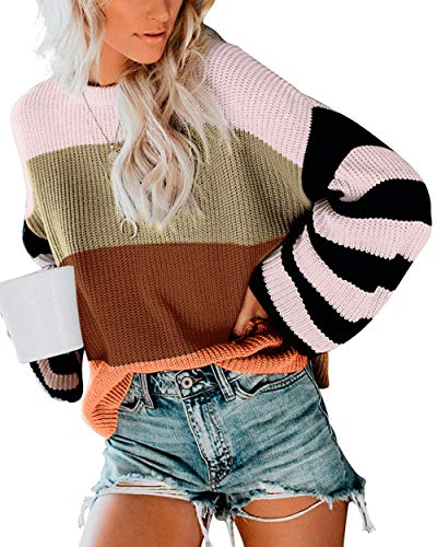 cordat Womens Casual Crew Neck Color Block Oversized Lightweight Sweater Long Sleeve Knit Pullover Jumper Tops