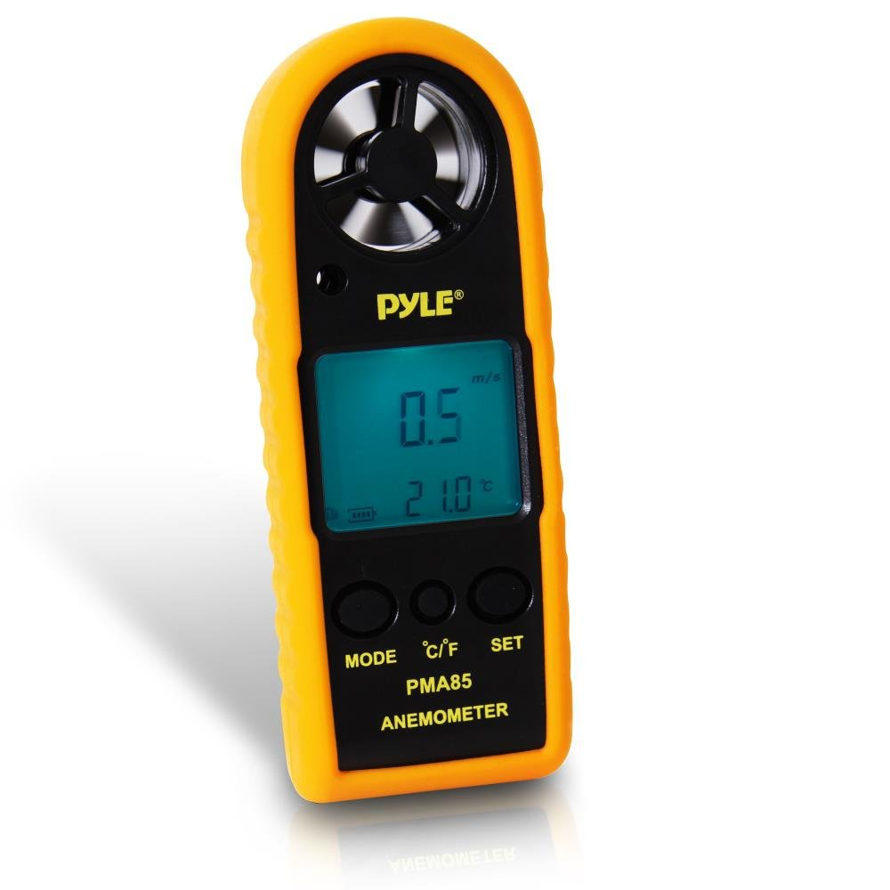 Pyle Digital Anemometer Handheld Thermometer - Portable Handheld Meter, Wind Speed, Wind Chill, Air Temperature, Air Velocity Gauge, Wind Weather Meter with Backlight, Battery Included - PMA85