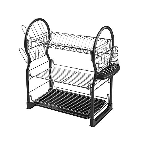 SEVVY Dish Rack 3-Tier Dish Drying Rack Kitchen Shelf Drainer Organizer with Utensils and Cup Holder Black Price & Reviews