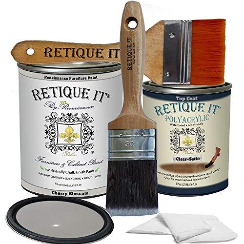 Retique It Chalk Furniture Paint by Renaissance DIY, Poly Kit, 04 Dove Grey, 32 Ounces