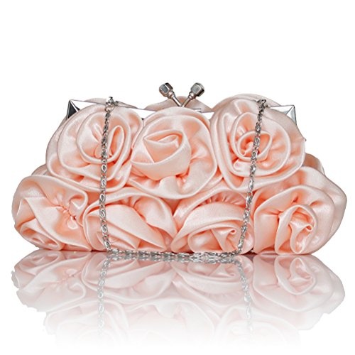 (LUOEM Evening Bags Ruffle Silk Evening Clutch Flower Kiss Lock Chain Bag Bride Wedding)