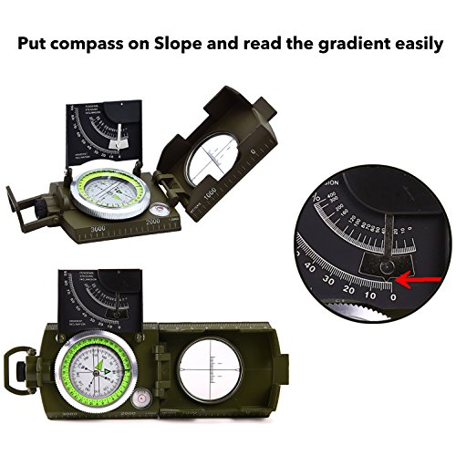 Sportneer Multifunctional Military Lensatic Sighting Compass with Inclinometer and Carrying Bag, Waterproof and Shakeproof, Army Green by Sportneer (Image #2)