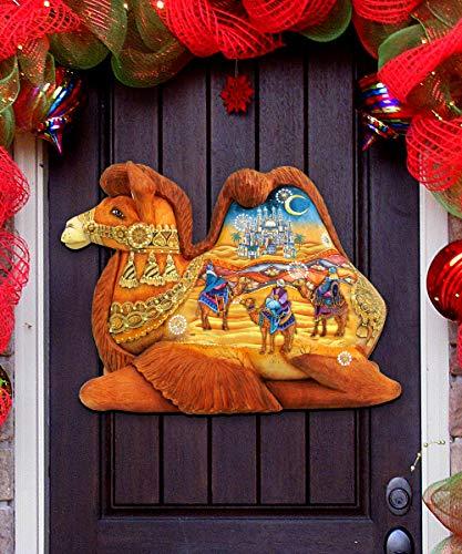 G. Debrekht Christmas Decorations - Home Garden Outdoor Indoor Wall Door Decorations - Nativity Camel Three Wise Men Religious Door Hanger 8126519H -