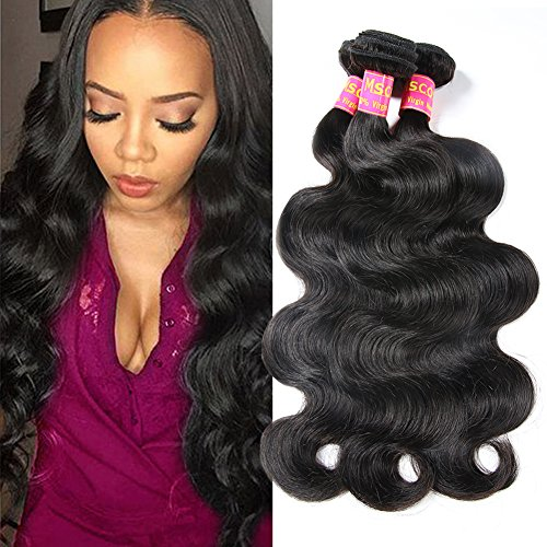 Mscove Brazilian Body Wave 3 Bundles 16 18 20 inch 100% Vingin Human Hair Bundles Brazilian Weave Hair Human Bundles Body Wave Natural Color