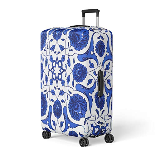 Semtomn Luggage Cover Blue Marble Ceramic Tiles Patterns From Turkey Turkish Flower Travel Suitcase Cover Protector Baggage Case Fits 18-22 Inch