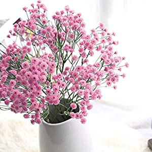 Fasclot Baby Breath Gypsophila Artificial Flowers, Babies Breath Flowers Bush Artificial Gypsophila Silk Silica Real Touch Blooms for Wedding Bridal Party Home Floral Arrangement Deco (Hot Pink) 1