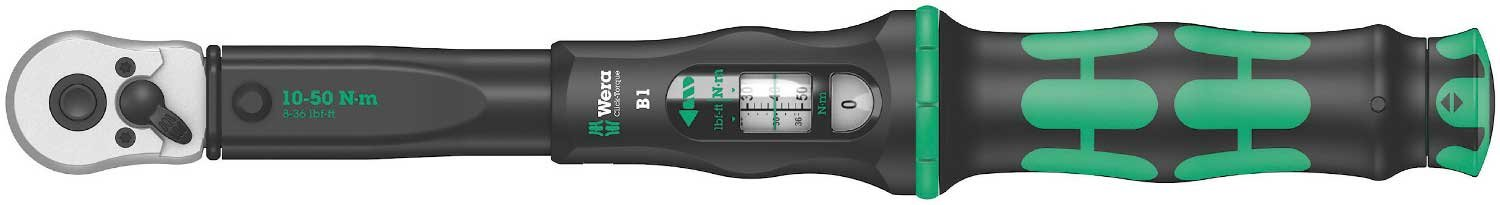 Wera 05075610001 Click B 1 Adjustable Torque Wrench, 1 W, 1 V, Black/Green, 3/8-Inch
