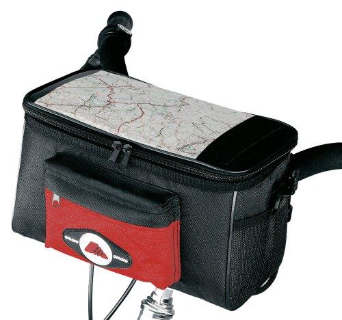amaro 7009 Fahrrad-Lenkertasche, schwarz/rot, ca. 28,5 x 17,0 x 15,0 cm