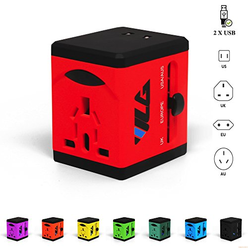 #1 Rated Travel Adapter and Charger - USB Charging Ports - Super Fast Charging - All International Standard Cell Phone/Desktop/Laptop/Touch Screen Tablet/Computer/GPS Chargers - Candy Red