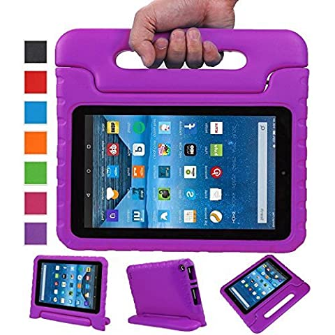 Sztook Shock Proof Kiddie Series Light Weight Convertible Handle Stand Case for Amazon Fire 7 Tablet 5th Generation - Purple - Pulsanti Turtle