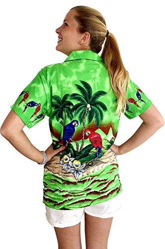 Original King Kameha   Funky Camisa Hawaiana   Mujeres   XS-6XL   Manga Corta Bolsillo Delantero   impresión De Hawaii  Loro  diferentes colores Verde