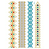 Metallic Temporary Tattoos for Women Silver Gold Waterproof Hair Tattoos Stickers for Girls Removable Tattoos Body Art Fake Tattoos Party Favors 1PC (E)
