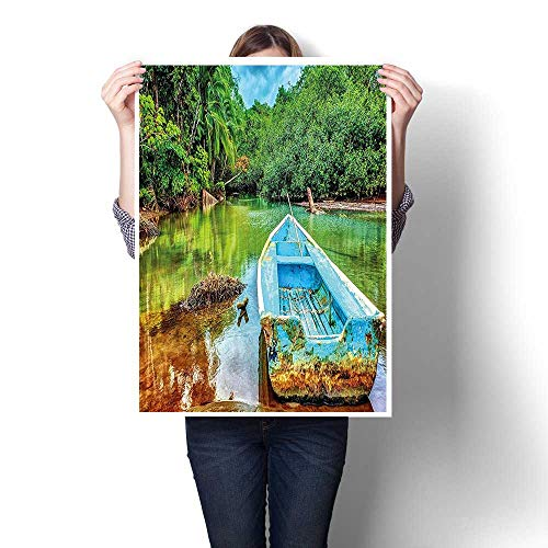 (Canvas Wall Art for Bedroom Home Decorations,Boat in Tropical River in National Park of Costa Rica Nature Photo Green Painting,for Home Decoration,28
