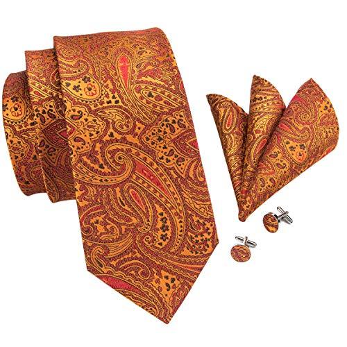 Hi-Tie Men Orange Paisley Floral Tie Cufflinks and Pocket Square Tie Set ()