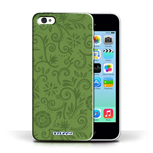 Etui / Coque pour Apple iPhone 5C / Fleur verte conception / Collection de Motif Remous floral