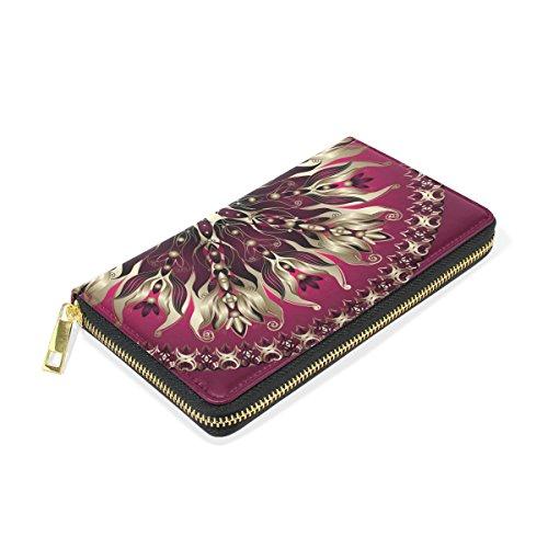 Floral Round Clutch TIZORAX Gold Around Organizer Purses Zip Purple Handbags And Wallet Womens nHqxAEXt4x