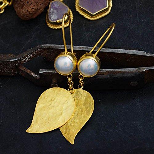 Sterling Silver Leaf Earrings W/White Pearl 24k Yellow Gold Vermeil Handcrafted Roman Art Design Women Earrings Turkish Designer Jewelry Troy Collection - Gold Vermeil Leaf Earrings