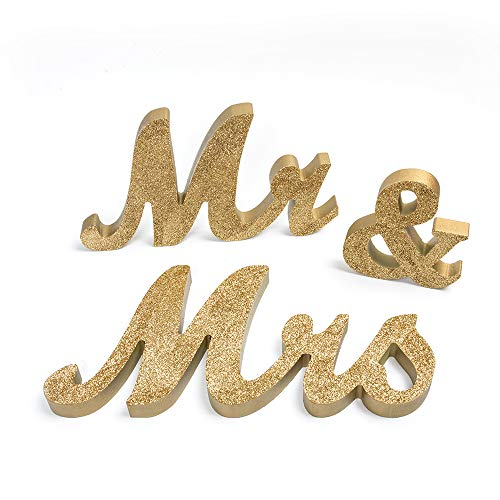senover Mr and Mrs Sign Wedding Sweetheart Table Decorations,Mr and Mrs Letters Decorative Letters for Wedding Photo Props Party Banner Decoration,Wedding Shower Gift (Gold -