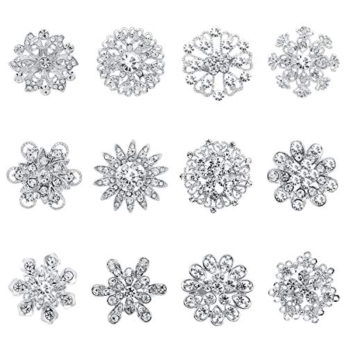 - WeimanJewelry Gold/Silver Plated Lot 12pcs Crystal Rhinestone Flower Brooch Pins for Women DIY Wedding Bouquet (Silver)