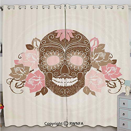 Justin Harve window Skull and Roses Dead Man in Colors Vintage Style Spooky Graphic Art Print Bedroom Living Room Curtain Set of 2 Panels(100